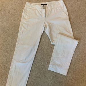 Theory White Cotton Pants, flat front, size 4